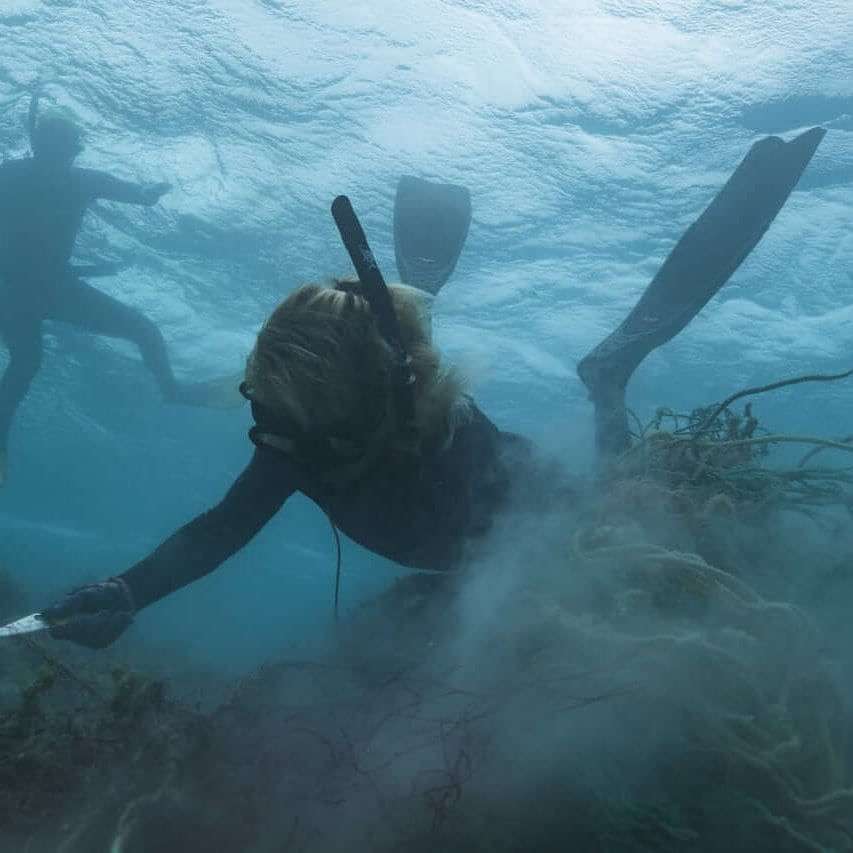 Kristen Kelly clears derelict fishing net from a reef.(Photo: NOAA Fisheries/Steven Gnam)